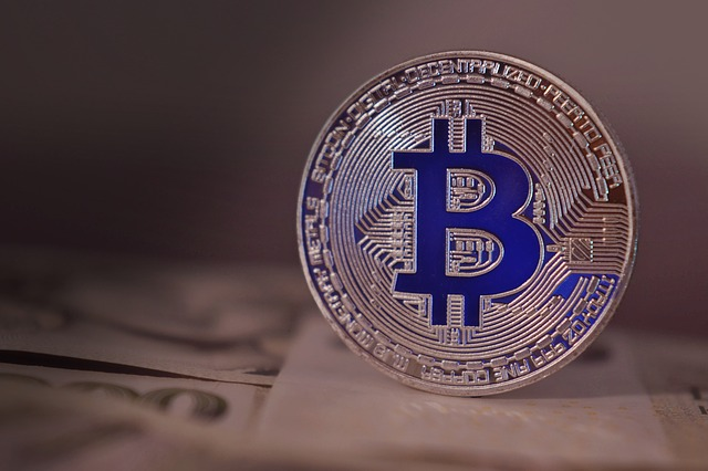 modrý bitcoin